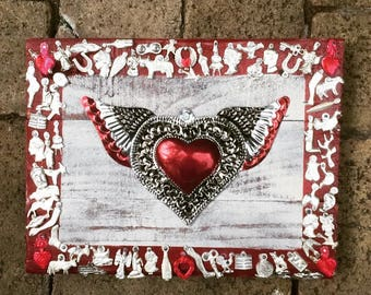Red Sacred Heart Milagro- Milagros Wall Decor- Folk Art- Upcycled Recycled Wood Wall Hanging- Colored Milagros-Mexican Heart