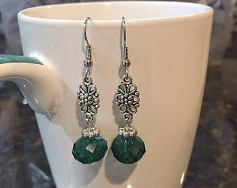Deep Green Flower And Shimmer Earrings