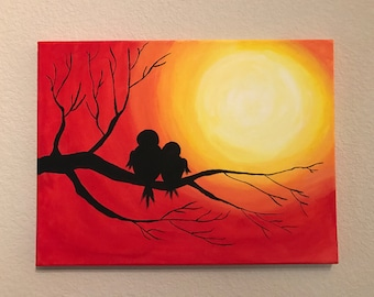 Sunset on a Tree - Mama Bird and Baby Bird Acrylic Painting