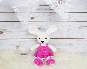 A cute bunny girl, amigurumi rabbit
