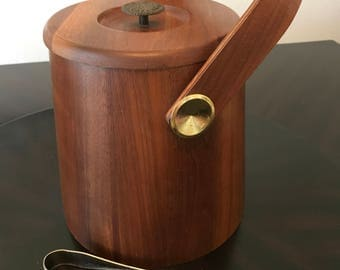 Vintage Wooden Ice Bucket by Lily-Tulip Cup Corp./Mid Century Teak and Metal Ice Bucket with Ice Tongs/ Vintage Ice Bucket