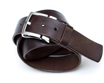 Leather belt - dark brown - 4 cm - l = 100 cm