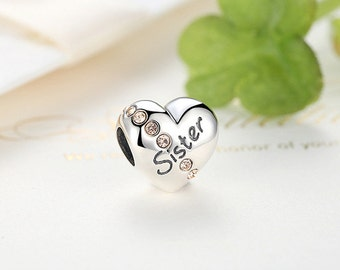 925 Sterling Silver Sister Charm European Beads Gift For Her, Gift idea