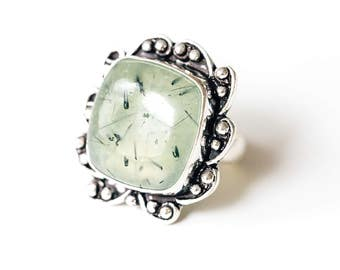 Silver • Large Green Prehnite Ring. • Size 7