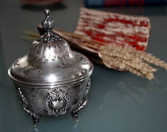 Vintage silver sugar bowl, box, antique, France
