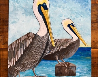 Pelican Painting Pelicans at the Lake 1 of 3 Original Cajun Acrylic Painting on 12x16 Canvas Panel
