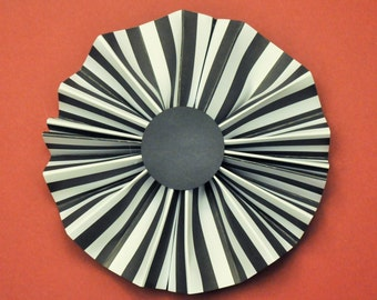 Beetle Juice Rosettes | Macabre Paper Fans | Black and White Pinwheels