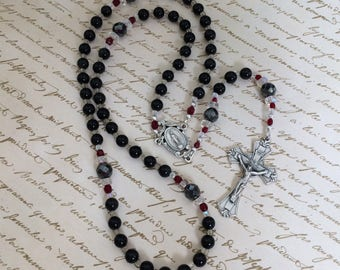 Black Obsidian and Hematite gemstone Five Decade Rosary, Catholic Rosary with Miraculous Medal Center