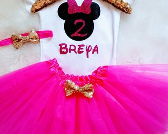 Minnie Birthday Outfit Minnie Mouse 2nd Birthday Shirt Pink Silver Minnie Second Birthday Girl Disney World 2 Birthday Tutu Personalized