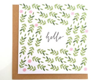 Floral Greetings Card, Floral Birthday Card, Laurel Greeting Card