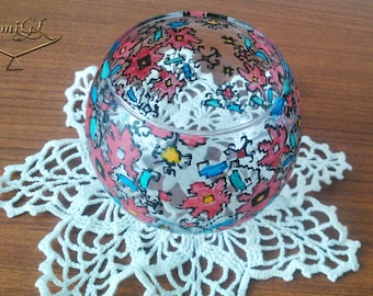 Sphere,Hand painted glass, Bulgarian embroidery, Candle holder, Vase, Personal gift, Mothers day, Birthday gift