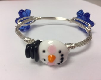 Wire Wrapped Beaded Bracelet--Snowman with Snowflakes
