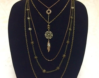 Multi layered brass chain necklace