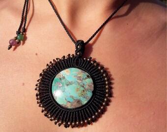 Turquoise sleeping beauty necklace macrame