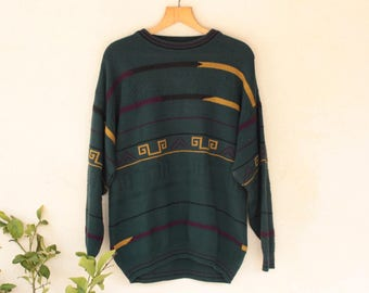 Vintage Norwegian Style Green Jumper Size - Large