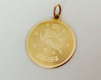 10K Yellow Gold Virgo Medallion