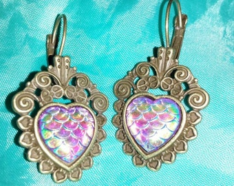 Mermaid earrings fish scales in the heart