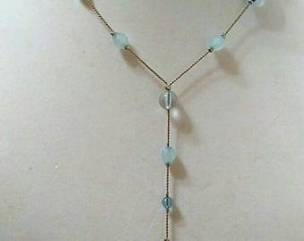 Blue Silver Beaded Necklace, Silver Necklace, Lariat Necklace, Y Necklace, Accessories, Boutique, Fashion Jewelry