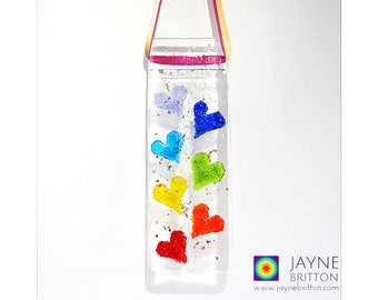 Glittering Rainbow Hearts Light Catcher, fused glass suncatcher, says I love you in all the colours of the rainbow, seven chakras, host gift
