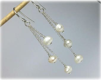 Pearl Earrings, Wedding Earrings with Pearls in Sterling Silver, Bridal Earrings, Wedding Jewelry, Bridal Jewelry, Bridesmaids Earrings