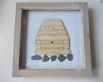 T25 Picture -  Etched wood T25 with bug eyes in distressed wood frame