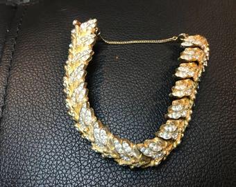 Signed Joseph Mazer gold tone and rhinestone vintage link bracelet