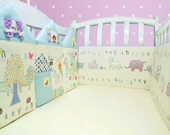 Crib rail guard baby bumper animal nursery baby shower gift (046)