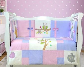 Baby girl bedding crib set: crib bumper, blanket, blanket cover, pillow case, cotton crib sheet (057)