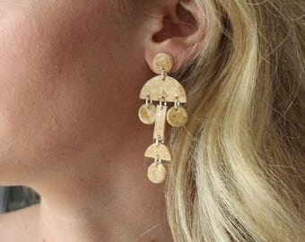 Tribal Statement Earrings, Porcelain Dangling Earrings, Handmade brown tan earrings, Super Light Weight