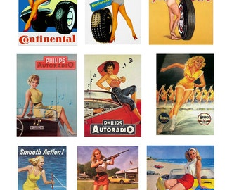scale model car auto shop garage pin up posters tires parts