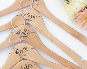 Set of Eight Personalised Engraved Hangers