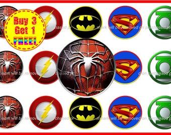SuperHeros Bottle Cap Images - Super Heros - Instant Download - High Resolution Images - Buy 3, Get 1 FREE