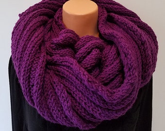 Purple Hand Knit Infinity Scarf