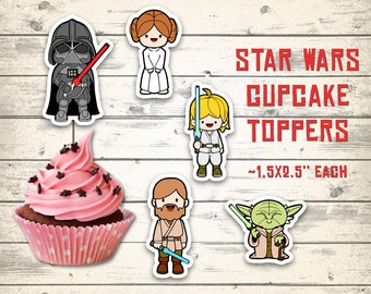 Star Wars cupcake toppers, Star Wars centerpieces, Star Wars toppers! 10 different characters!