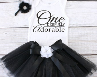 One derfully Adorable. Girls Birthday Tutu Outfit. One Year Old Birthday Outfit. Birthday Outfit 1. First Birthday Outfit. T07 1BD (BLACK)