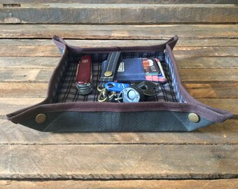 Valet Tray, Mens Valet, EDC Valet, EDC Gear, Wallet Tray, Change Tray, Desk Tray, Desk Valet, Waxed Canvas Valet Tray, Accessory Tray