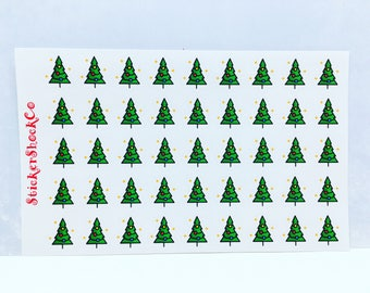 Christmas Tree Stickers, Christmas Sticker Seals, Holiday Stickers, Planner Stickers