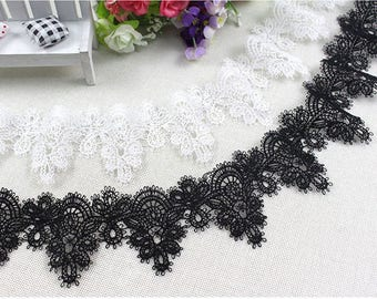 2 Yard Lovely Cotton Lace Trim, White Ribbon Lace, White Cotton Lace Trim for Bridal, Sewing, Applique, Gift wrap, Crafting