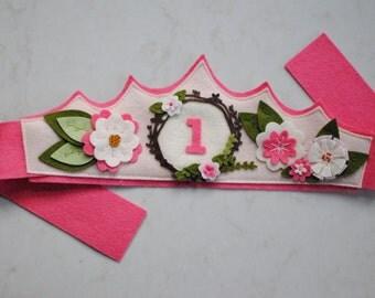 Floral Birthday Crown - Pink