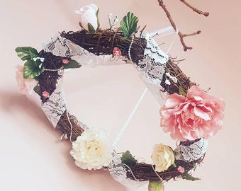 Crib Mobile, Cot Mobile, Canopy Topper, Floral Wall Hanging, Floral Wreath