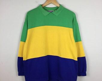 90s Color Block Sweater Size Medium, Striped Sweater M