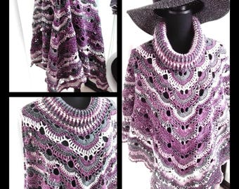 Crochet poncho with a Cowl, shrug without sleeves  with cowl and four corners. Silver in the yarn