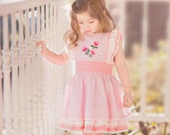 Girls pink dress, vintage inspired dress, easter dress, ruffles, lace, pink easter dress, pink dress.