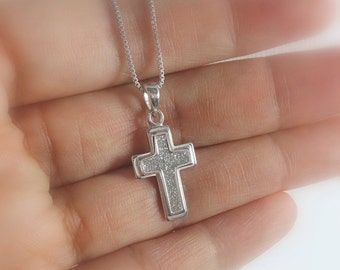 Tiny Sterling Silver Cross Necklace, Christening Necklace, Baptism Gift Girl, Baptism Necklace, Flower Girl Necklace, Confirmation Necklace