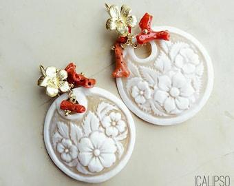 Flower earrings, coral earrings, cameo earrings, boho earrings, mom birthday, gift for girlfriend, boho jewelry for wife, gift for sister