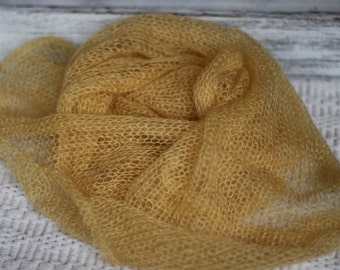 Light mustard mohair wrap,knitted wrap