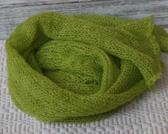 Lime Green Mohair Wrap, New Born Mohair Knitted wrap