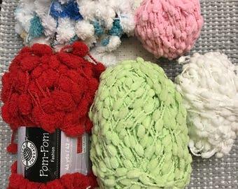 variegated yarn, Yarn Lot , Knitting Supplies, Yarn Skein, pom pom yarn