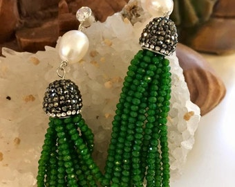 Paved Crystal Fresh Water Pearl Tassel Eaarings