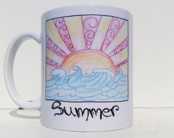 The Summer is here Mug - Beautifull handpainted design - summer mug - seasons art nouveau - four seasons